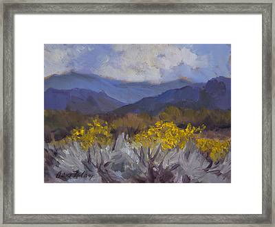 Santa Rosa Mountains And Desert Marigolds Framed Print by Diane McClary