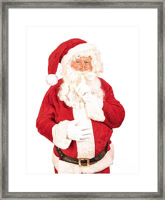 Santa Saying Shush Framed Print by Amanda Elwell