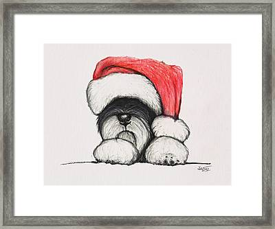 Santa Schnauzer Framed Print