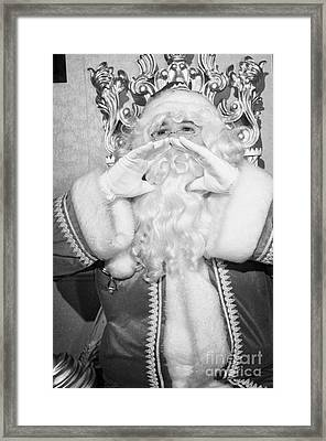 Santa Sitting On His Throne In Grotto Calling Out Framed Print by Joe Fox