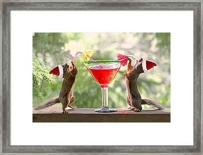 Santa Squirrels Celebrating Christmas Framed Print