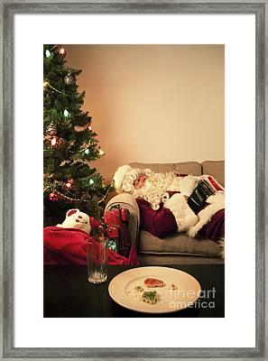Santa Takes A Nap Framed Print by Diane Diederich