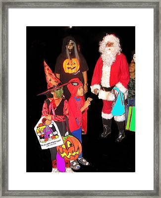 Santa Trick Or Treaters Halloween Party Casa Grande Arizona 2005 Framed Print