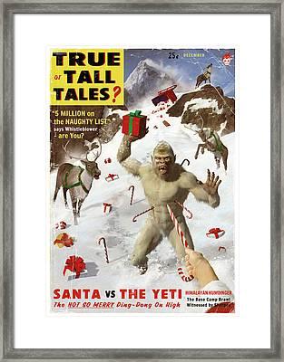 Santa Vs The Yeti Framed Print
