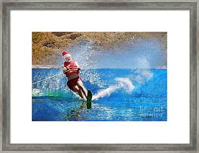 Santa Waterskiing Framed Print