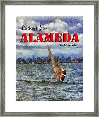 Alameda Santa's Greetings Framed Print by Linda Weinstock