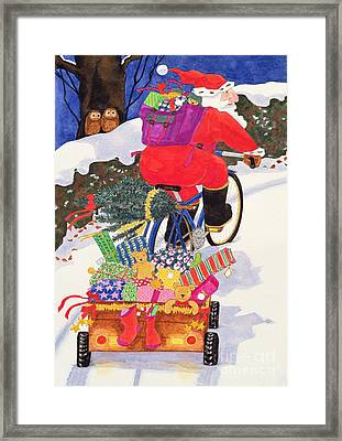 Santas Bike Framed Print by Linda Benton