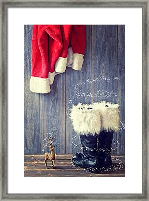 Santa's Boots Framed Print by Amanda Elwell