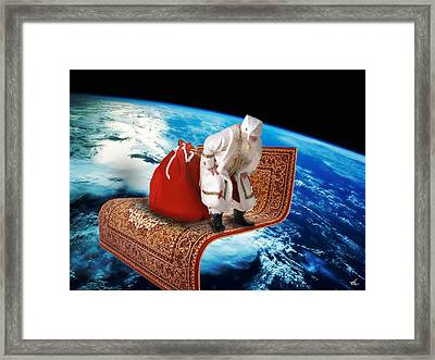Santa's Flying Carpet Framed Print