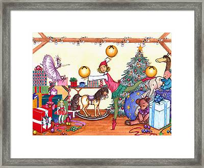 Framed Print featuring the painting Santa's Giftwrapper by Katherine Miller