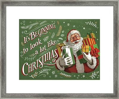 Santas List Iv Framed Print by Janelle Penner