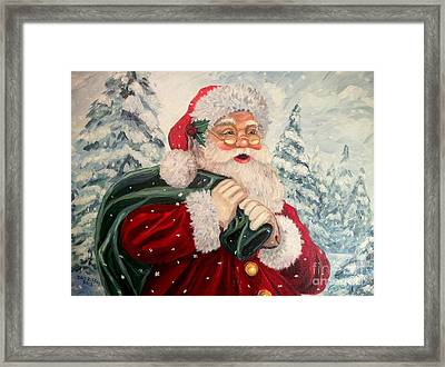 Santa's On His Way Framed Print