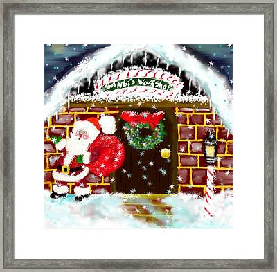 Framed Print featuring the painting Santa's Workshop by Lori  Lovetere