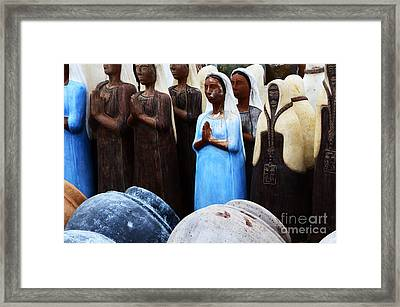 Sante Fe Color Statuary And Pots Framed Print by Bob Christopher