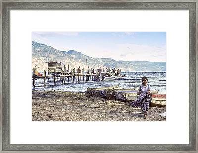 Santiago Atitlan Dock Framed Print by Tina Manley