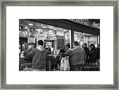 Santiago Lunch Mono Framed Print by John Rizzuto