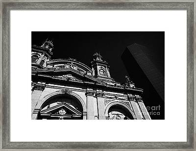 Santiago Metropolitan Cathedral Next To Modern Glass Clad Office Block Chile Framed Print by Joe Fox