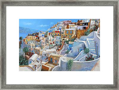 Santorini A Colori Framed Print by Guido Borelli