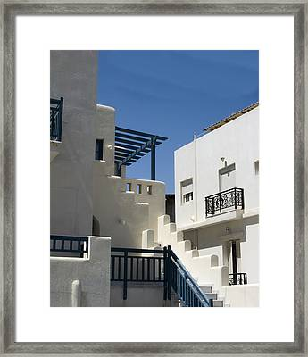 Santorini Apartments Framed Print