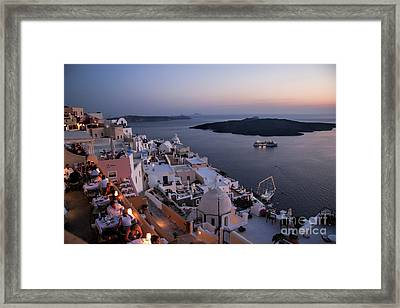 Santorini At Dusk Framed Print
