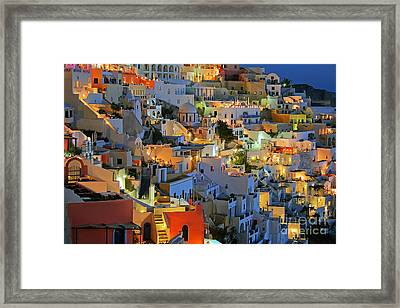 Santorini At Night Framed Print