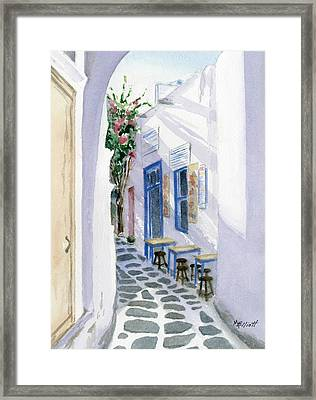Santorini Cafe Framed Print by Marsha Elliott
