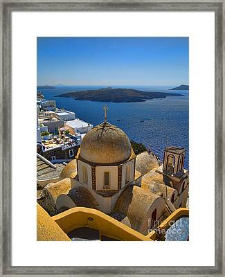 Santorini Caldera With Church And Thira Village Framed Print by David Smith