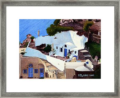 Santorini Cave Homes Framed Print by Mike Robles