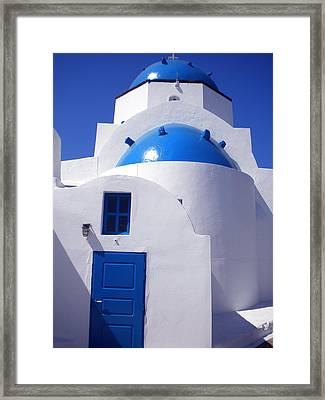 Framed Print featuring the photograph Santorini Church  by Colette V Hera  Guggenheim