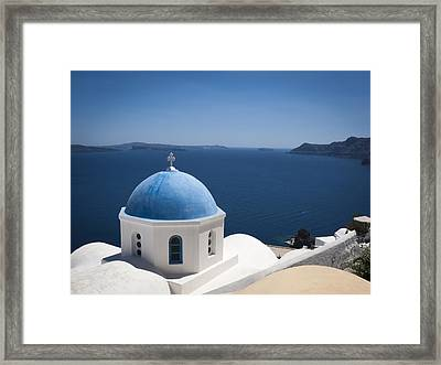 Santorini Church On A Summer Day Framed Print