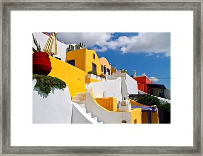 Framed Print featuring the pyrography Santorini Cliff by John Babis