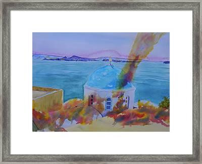 Santorini Fire Framed Print by Warren Thompson