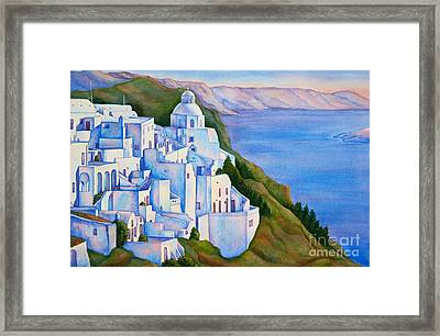 Santorini Greece Watercolor Framed Print by Michelle Wiarda