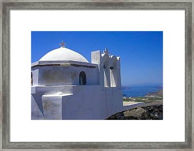 Santorini Hilltop Chapel Framed Print