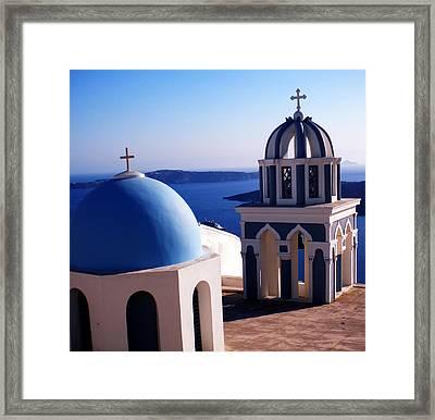 Framed Print featuring the photograph Santorini  Island Church Greece  by Colette V Hera  Guggenheim