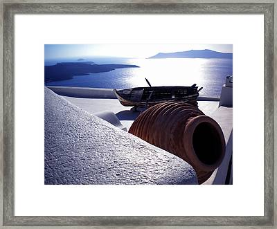 Santorini Island Early Sunset View Greece Framed Print