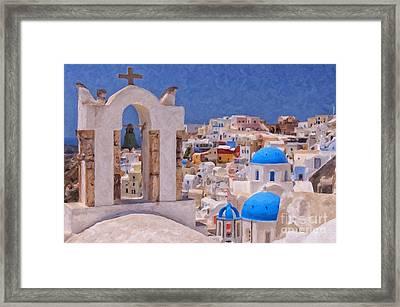 Santorini Oia Belltower Digital Painting Framed Print by Antony McAulay