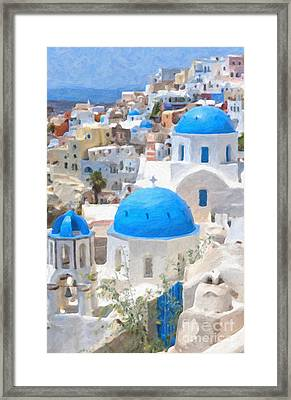 Santorini Oil Painting Framed Print