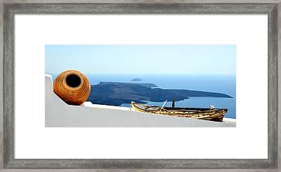 Santorini Rooftop Framed Print
