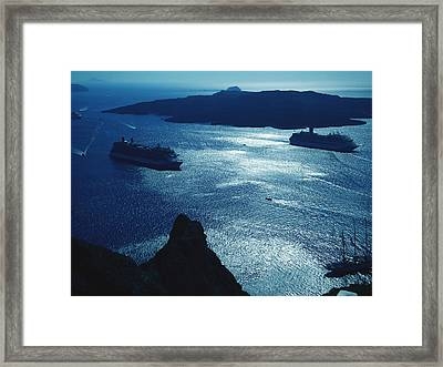 Framed Print featuring the photograph Santorini  Silent Night View Greece by Colette V Hera  Guggenheim