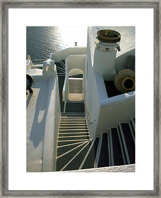 Framed Print featuring the photograph Santorini Stairs by Colette V Hera  Guggenheim