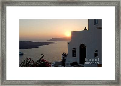 Santorini Sunset 24x14 Framed Print by Leslie Leda