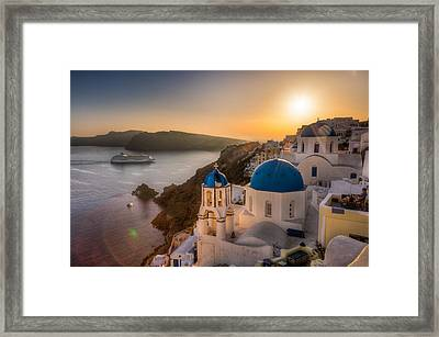 Santorini Sunset Cruise Framed Print