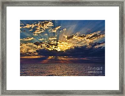 Framed Print featuring the photograph Santorini Sunset by Shirley Mangini