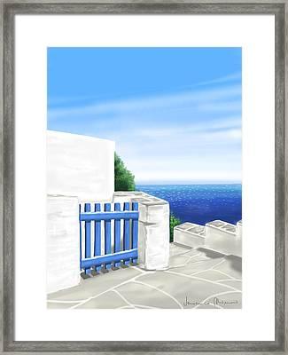 Santorini Framed Print by Veronica Minozzi