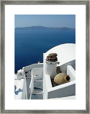 Santorini Welcome Framed Print by Julie Palencia