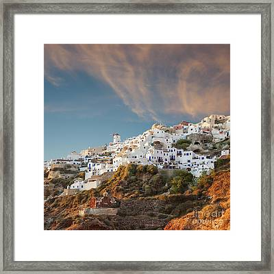 Santorini Windmill At Dusk Framed Print by Antony McAulay