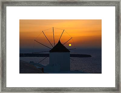 Santorini Windmill Sunset Framed Print