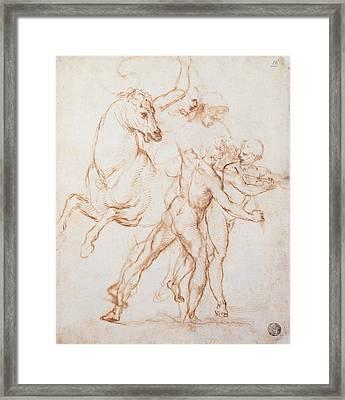 Sanzio Raffaello, A Warrior Riding Framed Print by Everett