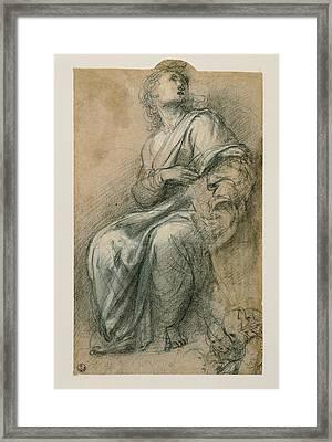 Sanzio Raffaello, Male Figure Wrapped Framed Print by Everett